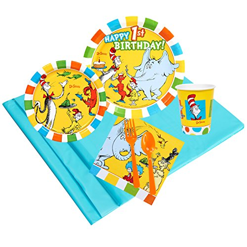 Dr Seuss 1st Birthday Party Supplies Party Pack 24 (Paper Plates Dr Seuss)