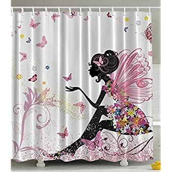 Beautiful Pink And Black Shower Curtains Butterfly Girl With Floral Dress  Flower Design Fairy Angel Wings On Decorating