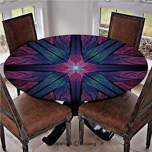 Elastic Edged Polyester Fitted Table Cover,Psychedelic Colorful Sacred Symmetrical Stained Glass Figure Vibrant Artsy Design,Fits up to 36