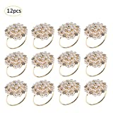 cheerfullus 12PCS Rhinestones Napkin Ring Fake Pearl Napkin Ring Gold Adornment Wedding Party Table