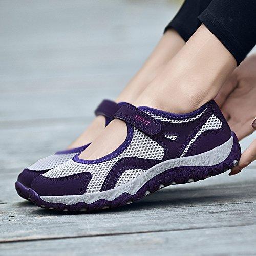 Fondo Zapatos Antideslizantes de A1 de Zapatos Transpirables Solos Zapatos light Zapatos de de Deportes Hasag Malla de de purple Comodidad Suave Femeninos la Verano Madre grey H6xZTqBwEn