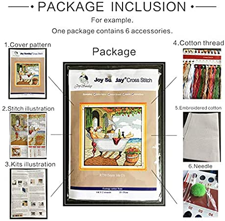 Joy Sunday Cross Stitch Kits 14CT Counted Harbor of Love 24.8x19.7 or 63cmx50cm Easy Patterns Embroidery for Girls Crafts DMC Cross-Stitch Supplies Needlework Scenery Series