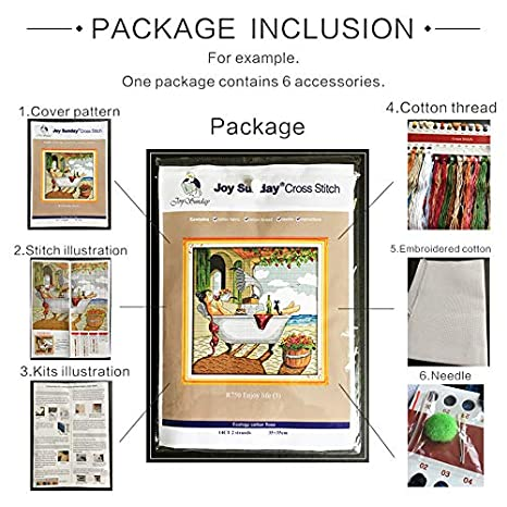 Joy Sunday Cross Stitch Kits 14CT Counted The Carefree Time 14.57x14.17 or 37cmx36cm Easy Patterns Embroidery for Girls Crafts DMC Cross-Stitch Supplies Needlework