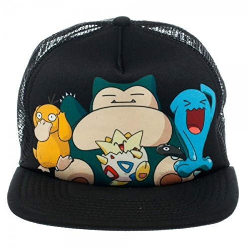 Pokemon-Group-Black-Snapback-Gorra