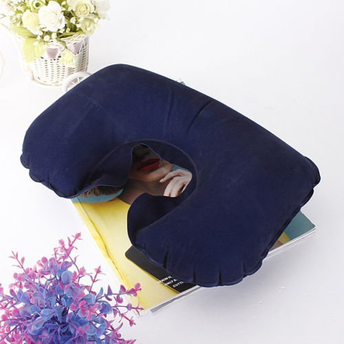 [Deep Blue Air Inflatable Travel Neck U Shape Pillow Support Head Rest Air Blow Up Cushion] (Alice In Wonderland Halloween Costumes Ebay)