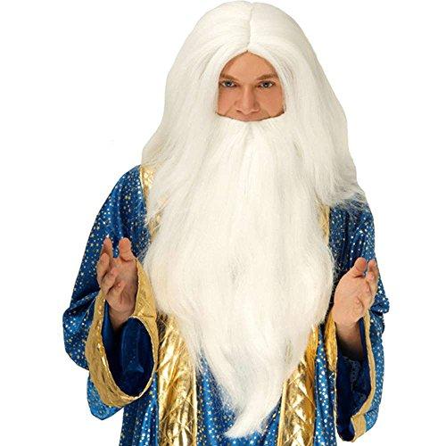 [White Wizard Wig & Beard] (Adult Dumbledore Costumes)