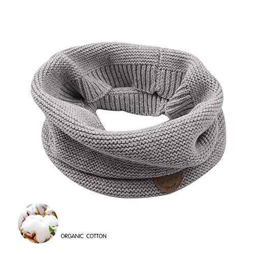XIAOHAWANG Baby Winter Scarf Kids Thick Knit Scarves Toddler Neckerchiefs Lovely (Grey)