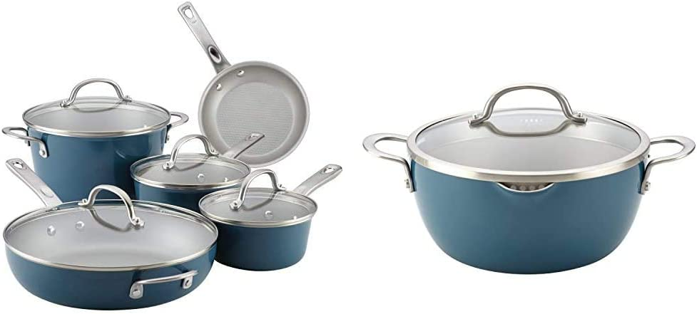 Ayesha Curry Home Collection Nonstick Cookware Pots and Pans Set, 9 Piece, Twilight Teal & Home Collection Nonstick Casserole Dish/Casserole Pan with Lid - 5.5 Quart, Twilight Teal