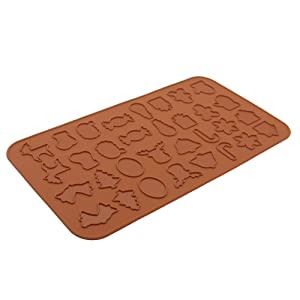 Silicone Macaron Baking Mat for Christmas Cooking, BPA Free Half Sheet Baking Macaron Sheet Liner Non Stick Microwave Oven Cookie Mat for Macaron/Pastry/Cake/Muffin/Chocolate Making (15.2 x 8.1inch)