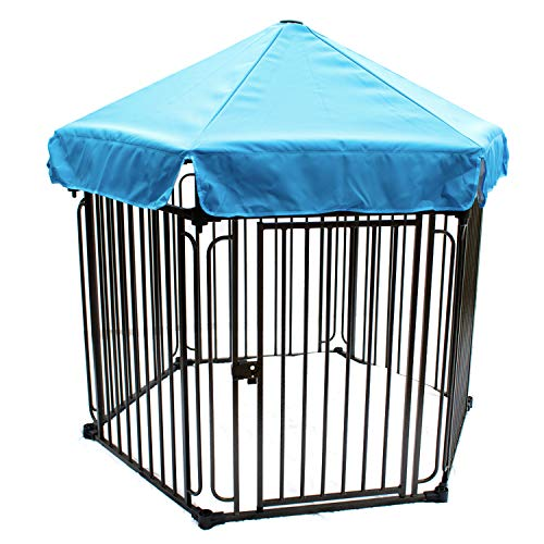 ALEKO DK6P48BL 6 Panel Heavy Duty Modular Dog Playpen Kennel with Door and Umbrella Medium Sized 22.5 x 30 Inches Blue