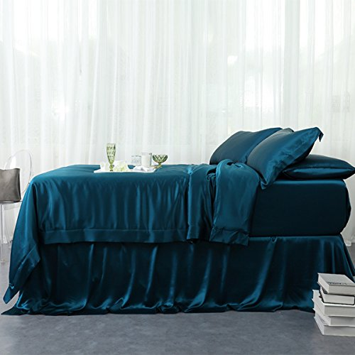 Orose 4Pcs Charmeuse Mulberry Silk Bed Sheet Set,Seamless, Deep Pocket (Queen, Peacock Blue)