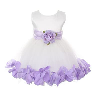 a1cd8355efc My Best Kids Baby Girls Ivory Lilac Floral Petals Organza Sash Flower Girl  Dress 24M  Amazon.co.uk  Clothing