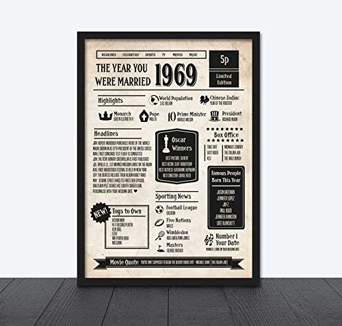 MugKD LLC The Year You were Married Newspaper Style 50th Wedding Anniversary Personalised Printed Poster Year 1969 Gifts for Men Woman [No Framed] Poster Home Art Wall Posters (24x36)