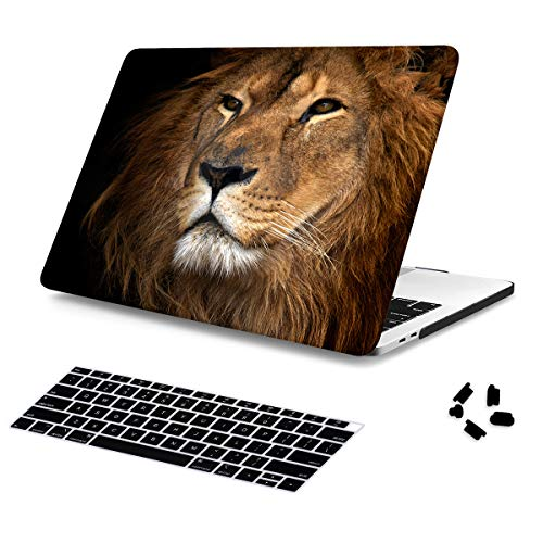 Batianda Painted Case for New MacBook Air 13 inch 2019 2018 Release Model A1932 with Touch ID Retina Display Crystal Hard Laptop Shell with Keyboard Cover Dust Plug (Lion Pattern) (Laptop Case Lion)