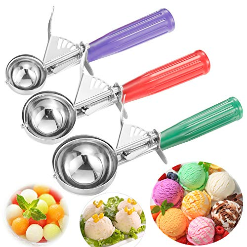 Ice Cream Scoops, Set of 3,  Stainless Steel Spoon Scoopers