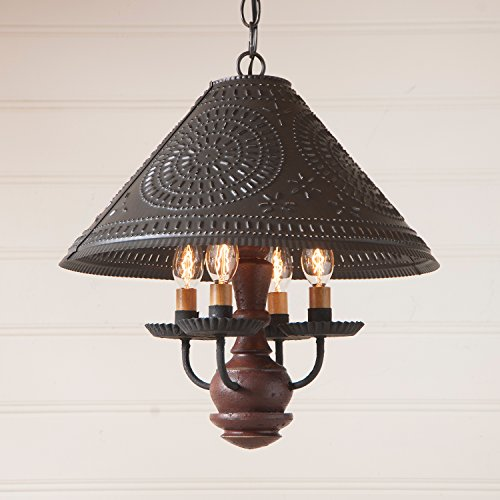 Homespun Shade Light in Plantation Red by Irvin's Country Tinware