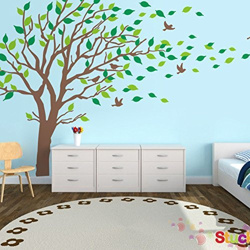 Large Brown And Green Tree Blowing In The Wind Tree Wall Decals Wall Sticker  Vinyl Art