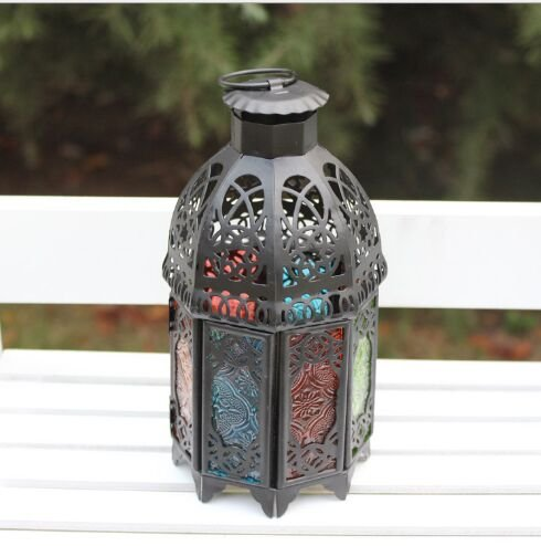 Moroccan Flickering Flameless Candle, AOTOSOLO Luminous Mini-Lantern Lattice Lantern Candle Holder Home Wedding Decor (Black)