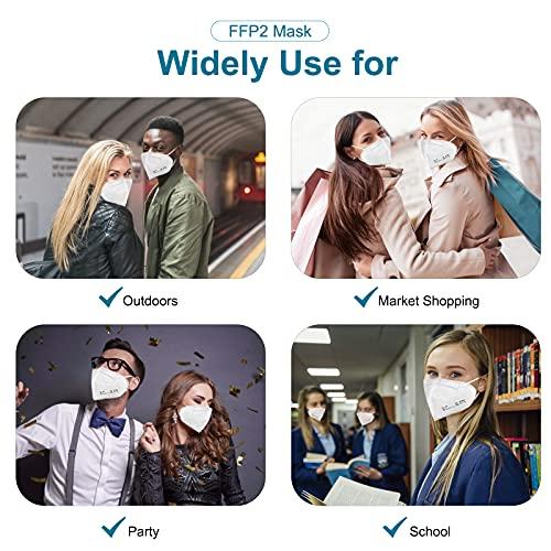 Tayogo Masque FFP2, 10 pcs Masques Jetables, NR Certifié CE EN149, 5 Epaisseurs de Filtration, Emballage Indépendant, Blanc