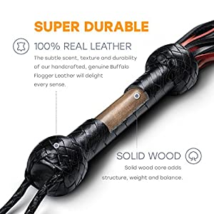 Leather Whip for Equestrian Whip for Horse Riding Sports, Black and Red Heavy Duty Leather
