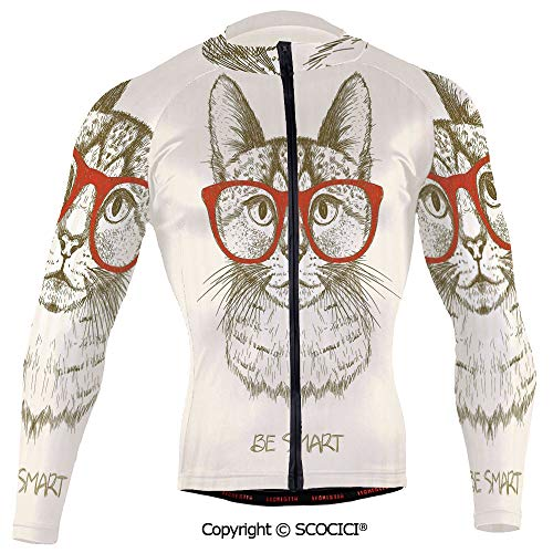 Cycling Jersey Long Sleeves Men,Vintage Style Domestic Feral with Hipster Glasse (Hipster-glasse)