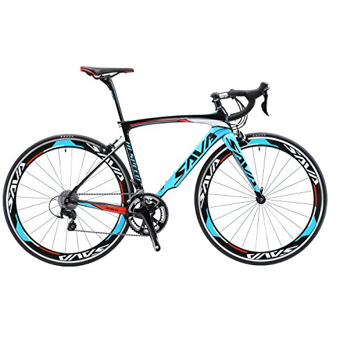 - SAVADECK T700 Carbon Fiber 700C Road Bike with Shimano 3000 18 Speed Derailleur System and Double V Brake (Blue,52cm)