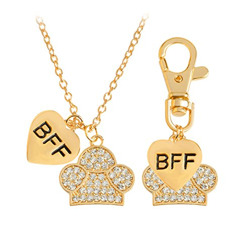 LUREME Lovely BFF Best Friend Forever Dog Pet Animal Keychain Tag and Necklace-Gold (nl005674-1)