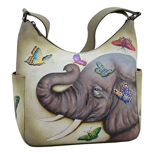 Anuschka Women's Genuine Leather Handbag | Classic Hobo With Side Pocket | Gentle (Leather Side Pocket Hobo)