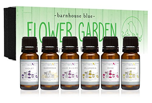 Premium Grade Fragrance Oils - Flower Garden - Gift Set - 6/10ml Bottles - Violet, Rose, Plumeria, Gardenia, Jasmine, Lilac & Lillies (Flower Home Fragrance Oil)