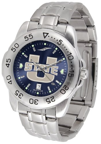 SunTime Utah State Aggies Sport Steel Band Ano-Chrome Men's Watch