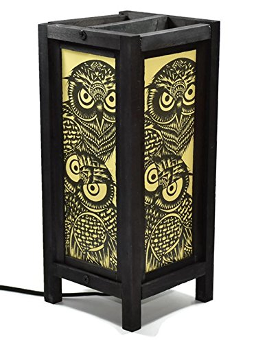 TZCS GROUP Decorative Lamp Thai Vintage Handmade Asian Oriental Handcraft Night Owl Bird Bedside Table Lights