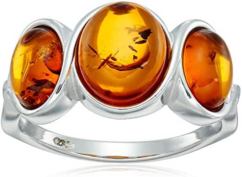 Honey Amber Sterling Silver Ring, Size 7