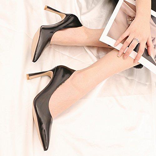 carriera 9 di bocca singolo e nbsp;cm e black con autunno femmina versatile altezza superficiale scarpe la con scarpe primavera spessore nero kphy during punta qwzURPP