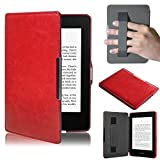 (US) Case for New Amazon Kindle Paperwhite 5,Muxika Kids Shock Proof Ultra Slim Leather Portable Handle Super Protective Stand Cover for New Amazon Kindle Paperwhite 5 (Red)
