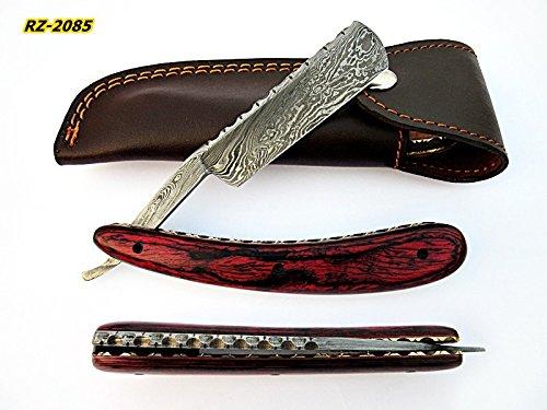 Poshland Knives RZ-2085, Custom Handmade Damascus Steel Straight Razor - Beautiful File Work on Red Doller Sheet Handle by Poshland Knives (Image #7)