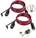 Pack of 2,12V Cigarette Lighter Extension Cord, 12 volt Lighter Extension Cord With LED Lights And Fuse Protection On Male Plugs