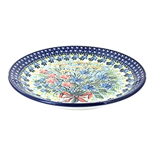 Blue Rose Polish Pottery Day Lily Bouquet Dinner Plate