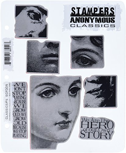 Stampers Anonymous Rubber Stamp Set, 7 by 8.5-Inch, Classics