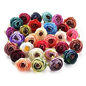 Fake Flowers for Crafts Bulk Decoration Bouquet Small Bud Roses Bract Artificial Flower Heads Silk Rose Peony DIY Wedding Home Christmas Decor Flowers Rose Gift Party Decor 30pcs 4cm (Colorful) 28