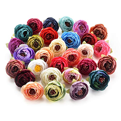 Fake Flowers for Crafts Bulk Decoration Bouquet Small Bud Roses Bract Artificial Flower Heads Silk Rose Peony DIY Wedding Home Christmas Decor Flowers Rose Gift Party Decor 30pcs 4cm (Colorful) (Flower Craft Warehouse)