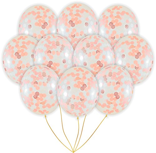 Review Of Rose Gold Confetti Balloons | 10 Pack Large 18 Rose Gold Foil, Light Pink and White Paper...