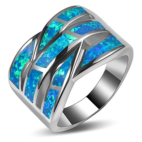 Weinuo Blue Fire Created Opal 925 Sterling Silver Engagement Wedding Party Ring Size 7