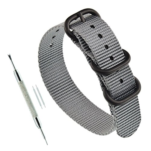 24mm Grey ZULU NATO Nylon Straps Men's Wrist Watch Band Wristband (Watch One Piece Get)