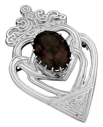 Broche Luckenbooth écossaise traditionnelle en argent sterling avec le Celtic entrelacé et ovale quartz fumé