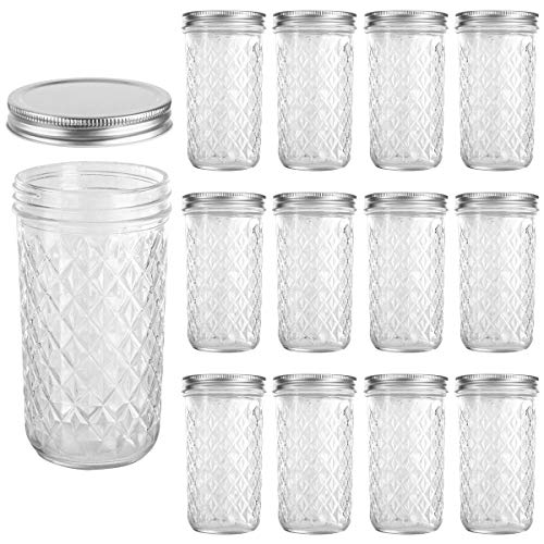 - VERONES Mason Jars, 24 OZ Canning Jars Jelly Jars With Wide Mouth Lid, Ideal for Jam, Honey, Wedding Favors, Shower Favors, Baby Foods, 12 PACK