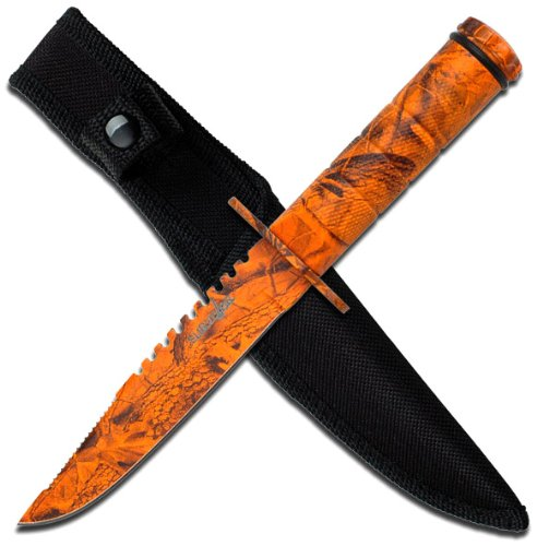 Survivor HK-690RC Fixed Blade Survival Knife, Orange Camo Double Reverse Serrated Blade, Orange Camo Metal Handle, 8-1/2-Inch Overall ()