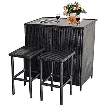 Mcombo 3PCS Black Wicker Bar Set Patio Outdoor Table U0026 2 Stools Furniture  Steel 6088