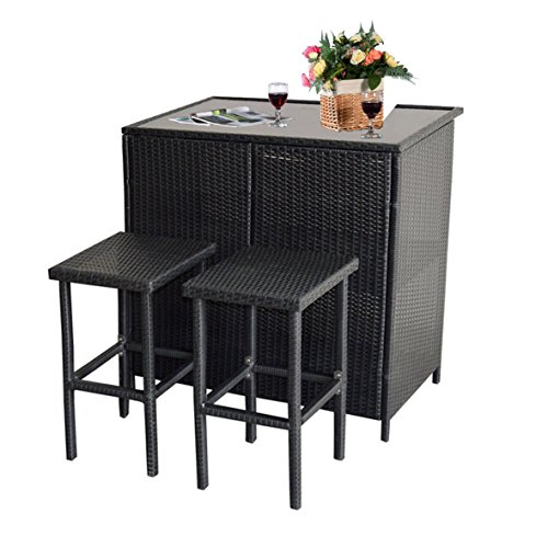 Cheap MCombo 3PCS Black Wicker Bar Set Patio Outdoor Table & 2 Stools Furniture Steel 6088-1200