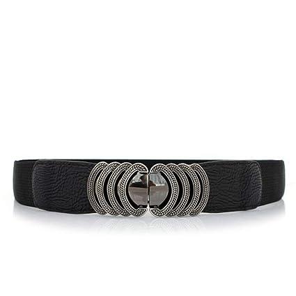 Styhatbag Cinturón de Mujer para Mujer Señoras Grabado de Metal Hebilla  elástica cinturón Ancho Vestido de 7684593f962e