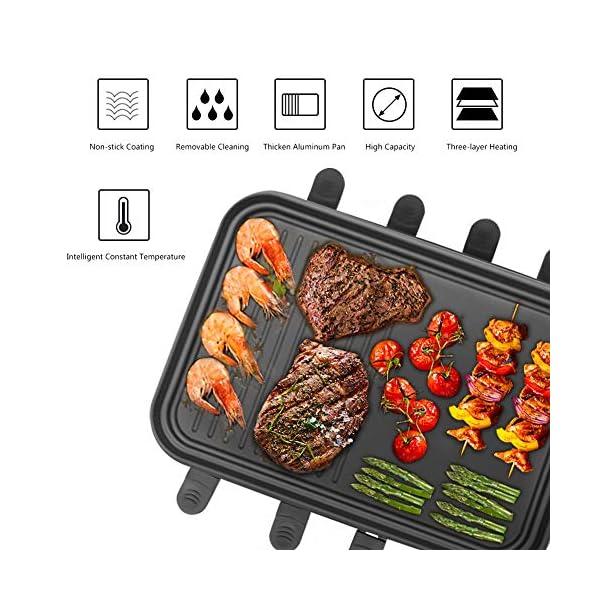 Raclette 8 Persone Piastra Raclette Grill in Alluminio, 8 Pentolini da Raclette, Calore Regolabile Continuo Termostato… 2